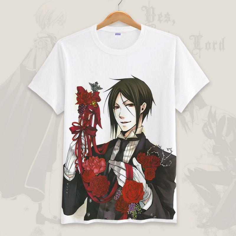 Nouveauté t-shirt drôle noir Butler été Sebastian Cosplay à manches courtes t-shirt hauts hommes/femmes Anime T-Shirts Homme