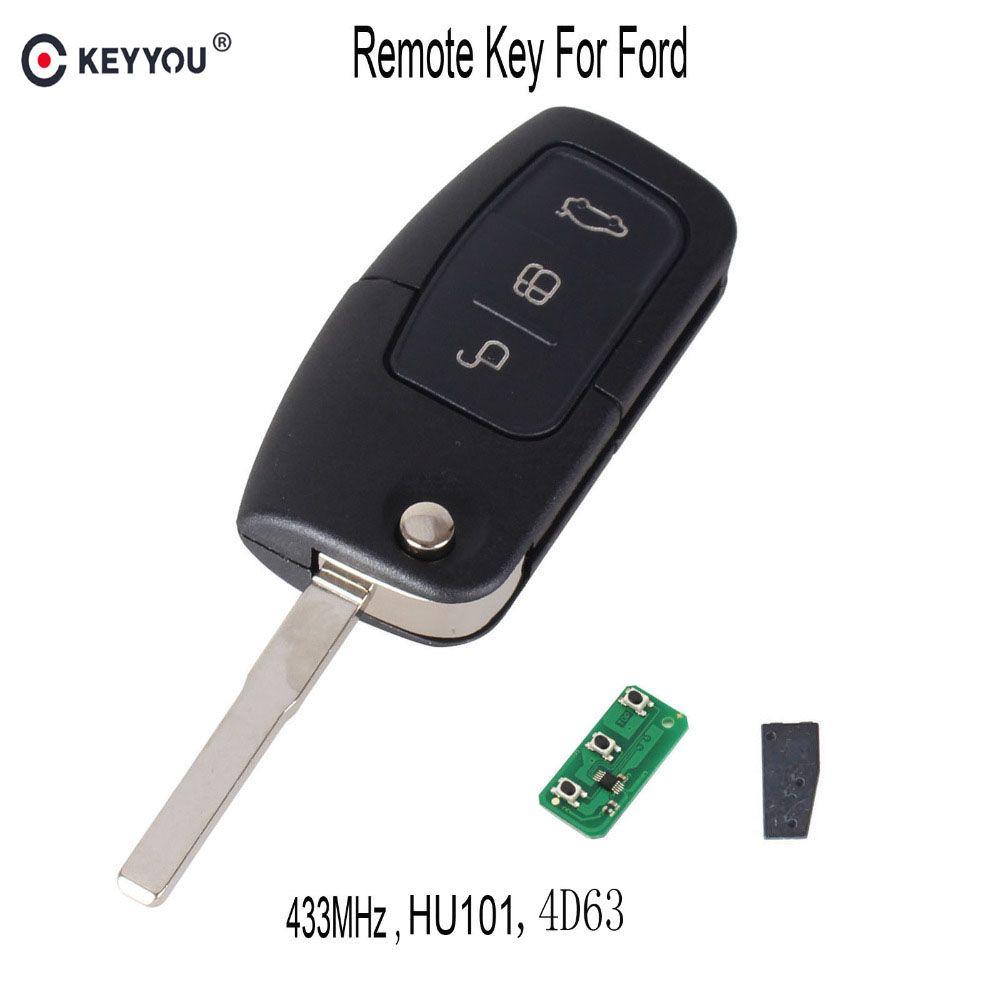 Keyyou 315/433 мГц 4D63 чип 3 Пуговицы Флип складной Дистанционное управление ключ для Ford Focus Fiesta 2013 FOB случае с HU101 лезвие