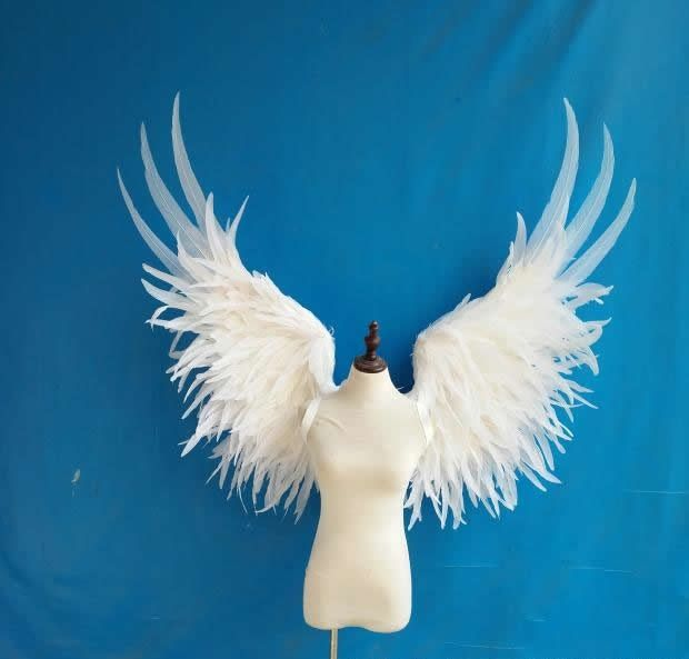 White angel feather wing adult model runway show underwear show shooting props festival party wing for Halloween Children's Day