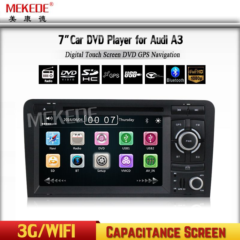 HD Capacitive screen Two Din 7 Inch Car DVD Player For Audi/A3/S3 2002-2011 Canbus Radio GPS Bluetooth 1080P Navigation FM Map