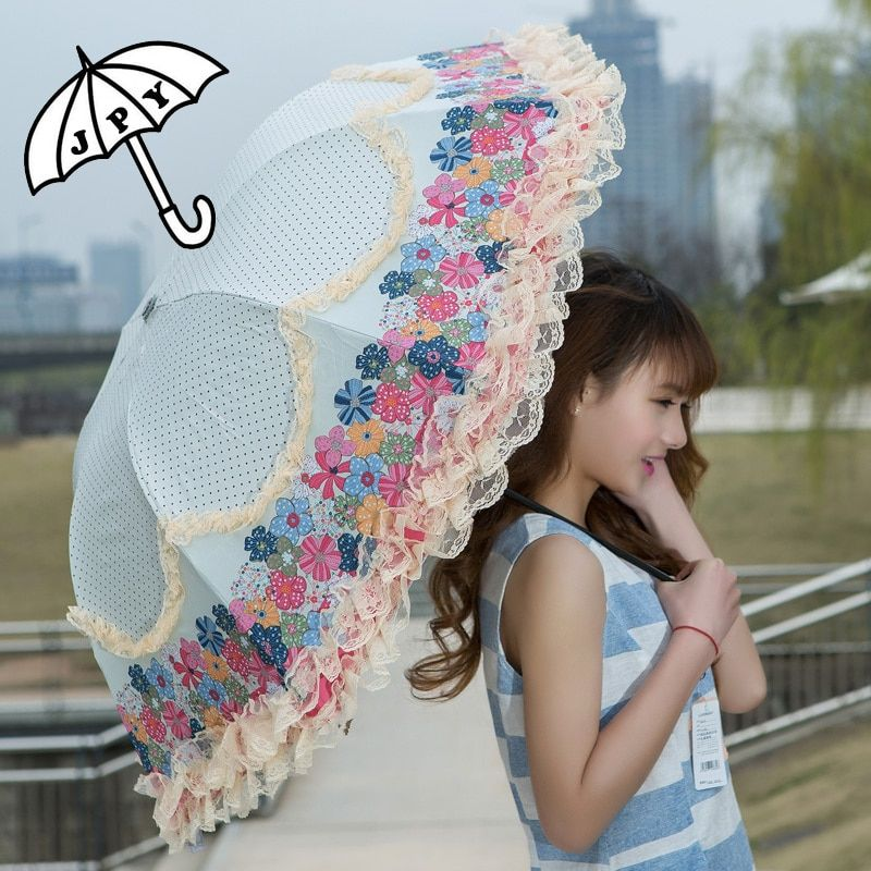 Femmes pluie parapluie soleil Double dentelle fleur Parasol vinyle Anti-UV étanche 3 pliant résistance au vent dentelle femme parapluies