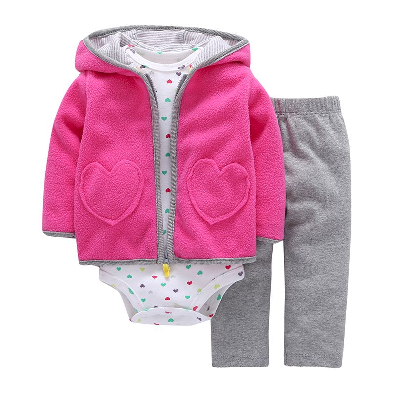 New Brand 3 Pieces Sets Fashion 2018 Baby Boy Girl's Style Regualr Full Sleeve <font><b>Heart</b></font> Hooded Coat+o-neck One Piece Romper+ Pants