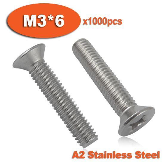 1000pcs DIN965 M3 x 6 A2 Stainless Steel Screw Cross Recessed Countersunk Flat Head Screws