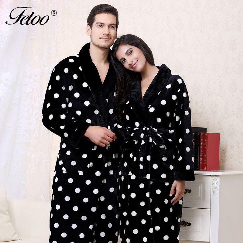 Fetoo Long Bathrobe Polka Dot Flannel Kimono Bath Robe Dressing Gown Peignoir with Belt Long Robes Couple Lovers Women Men