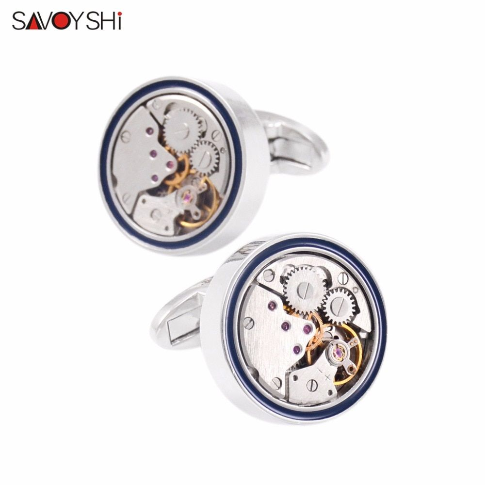 SAVOYSHI Fashion Mens Shirt Cufflinks High Quality Round Steampunk Watch Movement Business Cufflinks Silver Color Brand Jewelry