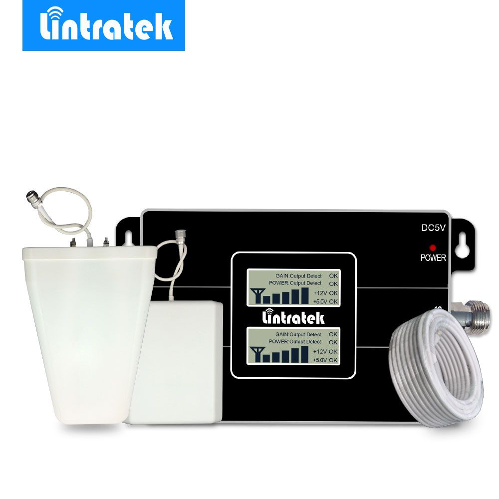 Lintratek NEW LCD Signal <font><b>Booster</b></font> GSM 900MHz 3G UMTS 2100MHz Cell Phone Signal Amplifier Repeater for MTS, MegaFon, Beeline,Tele2