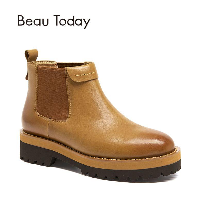 BeauToday Chelsea Stiefel Frauen Knöchel Länge Kuh Echtes Leder Plattform Elastische Band Top Qualität Herbst Winter Dame Schuhe 03420