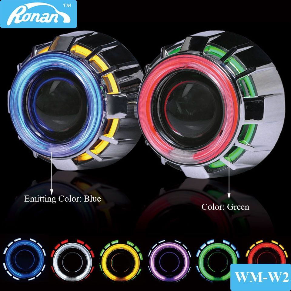RONAN 2.5 Double CCFL Demon Angel Eyes Bi-xenon HID Projector headlight Lens LHD RHD use xenon H1 with H4 H7 adapter car styling