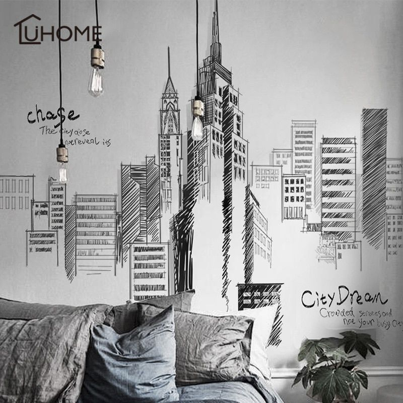 Noir rétro grand grand bâtiments de la ville Set Stickers muraux PVC bricolage Mural Art pour salon canapé décoration fond décalque 3 taille