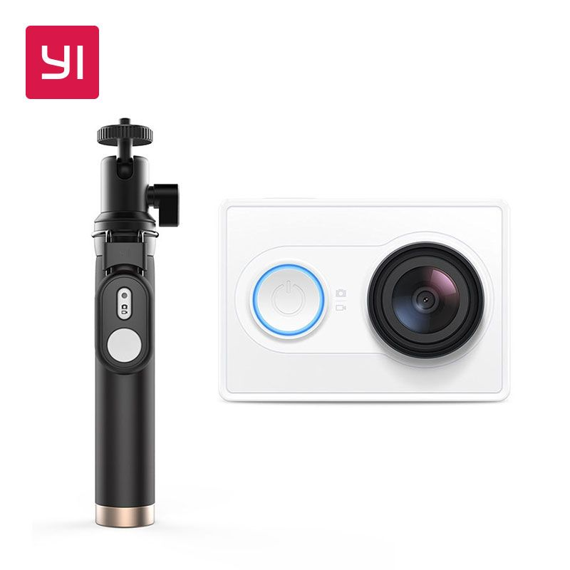 YI 1080P Action Camera With Selfie Stick White High-definition 16.0MP 155 Degree Angle 3D Noise Reduction International Edition