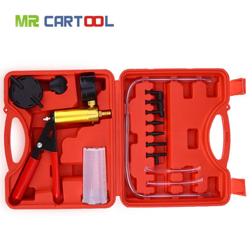 2 in 1 Brake Bleeder And Vacuum Pump Tester Tool Kit Brake Fluid Bleeder Oil Change Hand Held Vacuum Pistol Pump Tester Kit