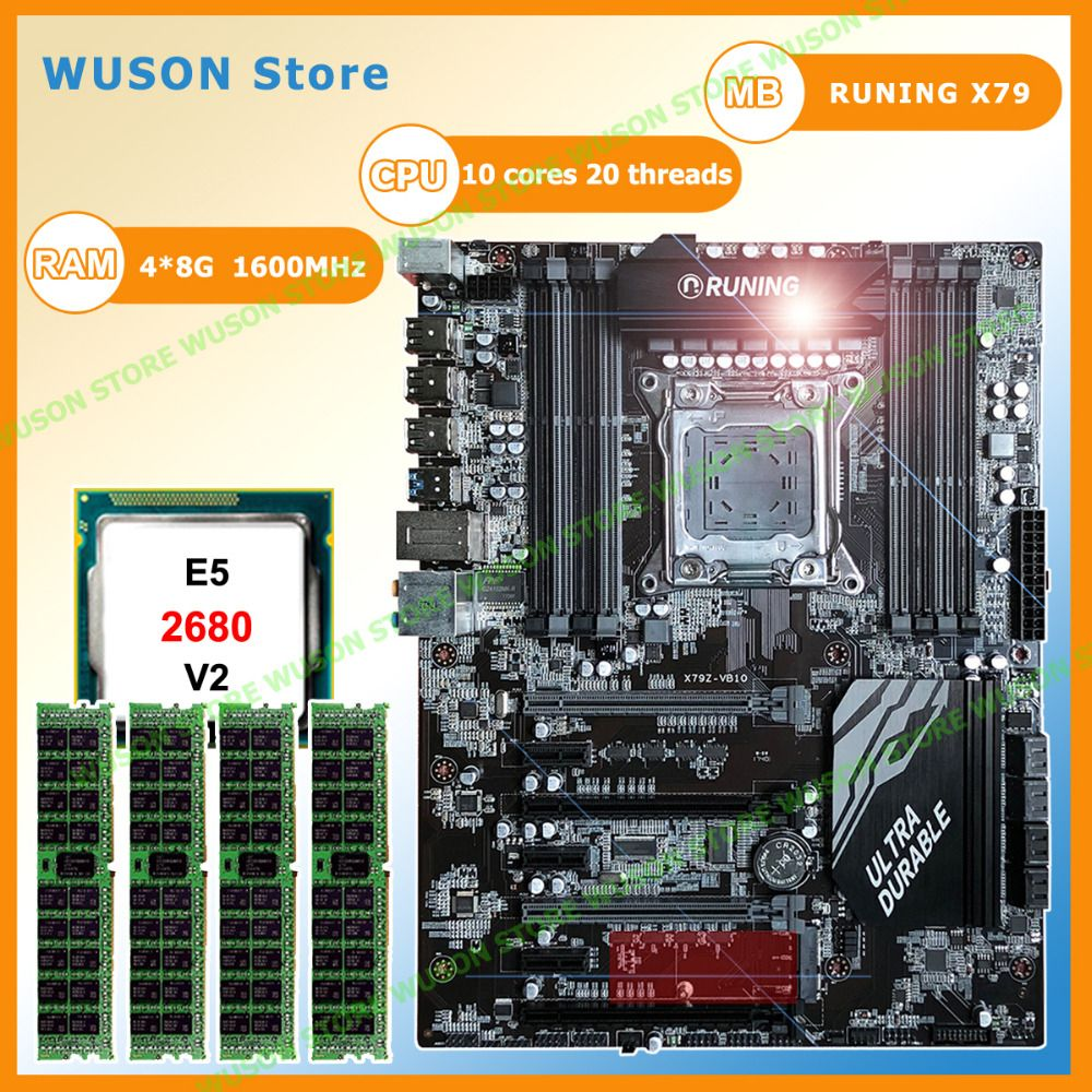 Runing Super X79 motherboard with 8 RAM slots 7 PCI-E slots CPU Intel Xeon E5 2680 V2 SR1A6 2.8GHz RAM 4*8G 1600MHz DDR3 RECC