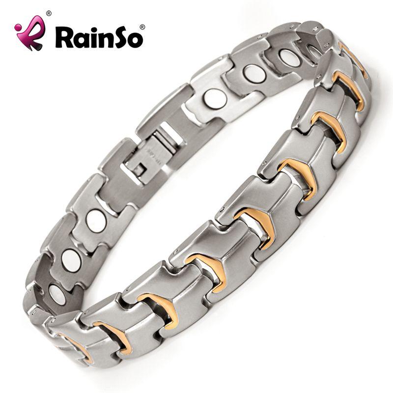 Guérison Magnétique Bracelet Hommes 316L Soins de Santé Magnétique En Acier Inoxydable Éléments Or Bracelet Main Chaîne OSB-738