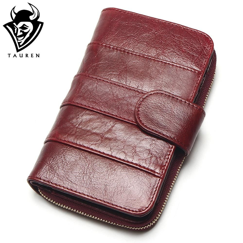 2018 New <font><b>Style</b></font> Layer Of Import Oil Wax Cowhide Medium Paragraph Buckle Leather Wallet Women's High Quality Purse