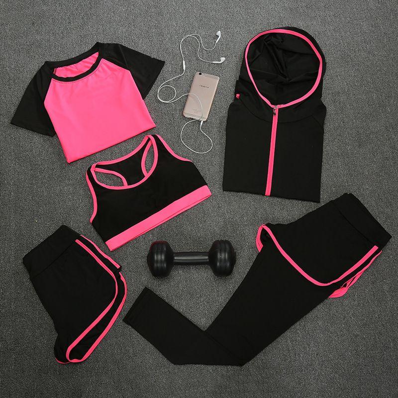2017 Fashion Women Set Sporting 5 Suit Short Sleeve Tshirt+Coats+Bra+Shorts+Fitness Quick Drying False Two Women Set Tracksuit