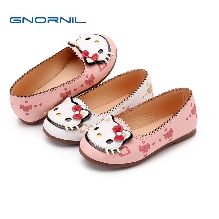 2018 automne enfants chaussures filles PU cuir chaussures mignon dessin animé sans lacet bébé fille princesse décontracté doux enfant en bas âge chaussures