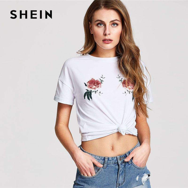 SHEIN White Symmetric Rose Floral Print Tee Women Round Neck Short Sleeve Casual T-shirt 2018 Summer Street Style Top Tee
