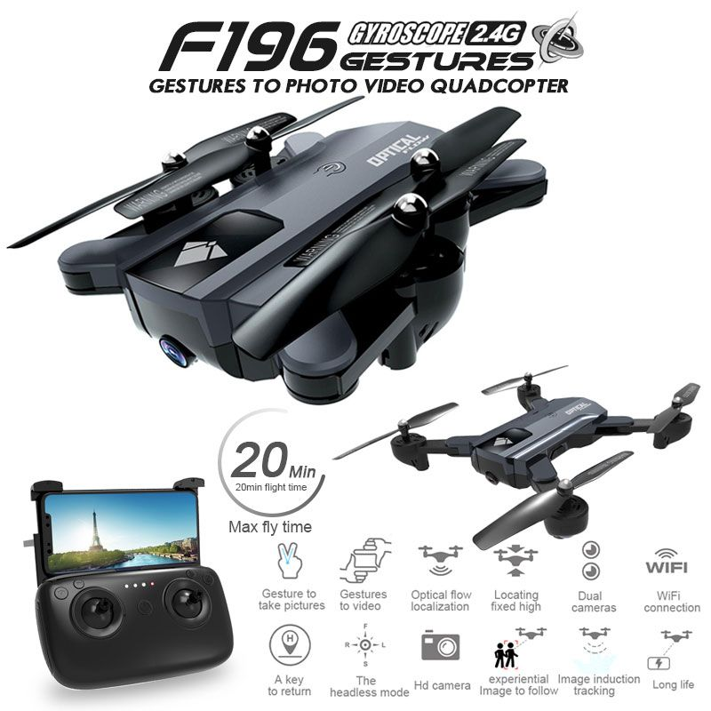 F196 Foldable Drone with 2MP HD Camera Optical Flow Dron Gesture Control 20mins Flight Time RC Quadcopter VS SG700 Visuo XS809S