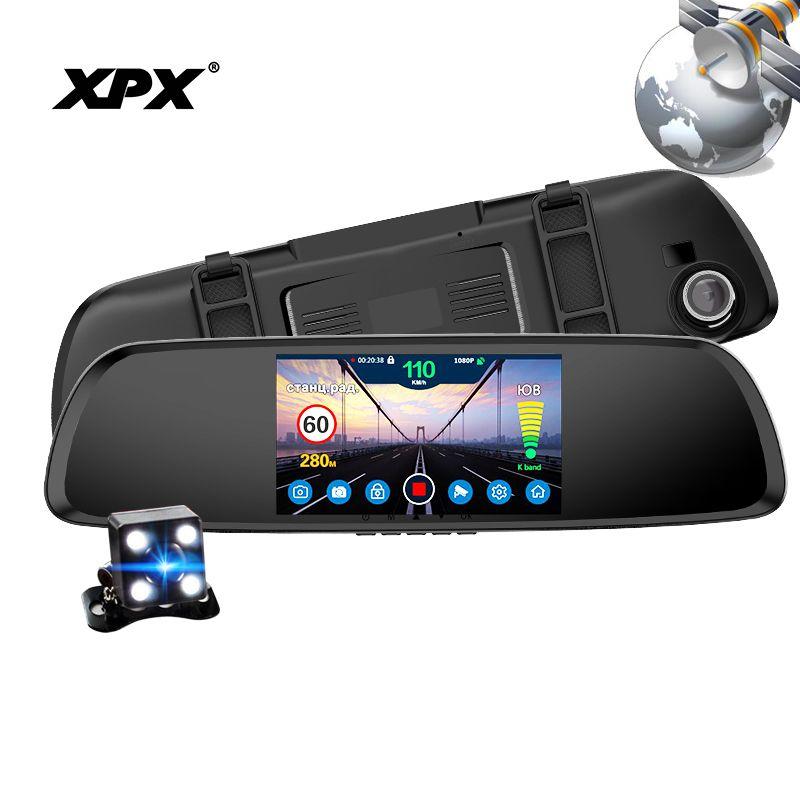 Dash cam XPX G616-STR Car dvr 3 in 1 GPS Radar Dvr Rear view camera Car DVR mirror Camera car Full HD G-srnsor Car camera record