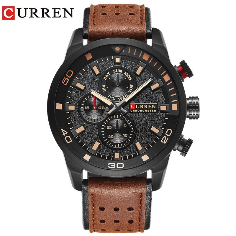 CURREN brand top new fashion casual quartz wrist watch men leather <font><b>relojes</b></font> strap round Quartz Water Resistant 8250