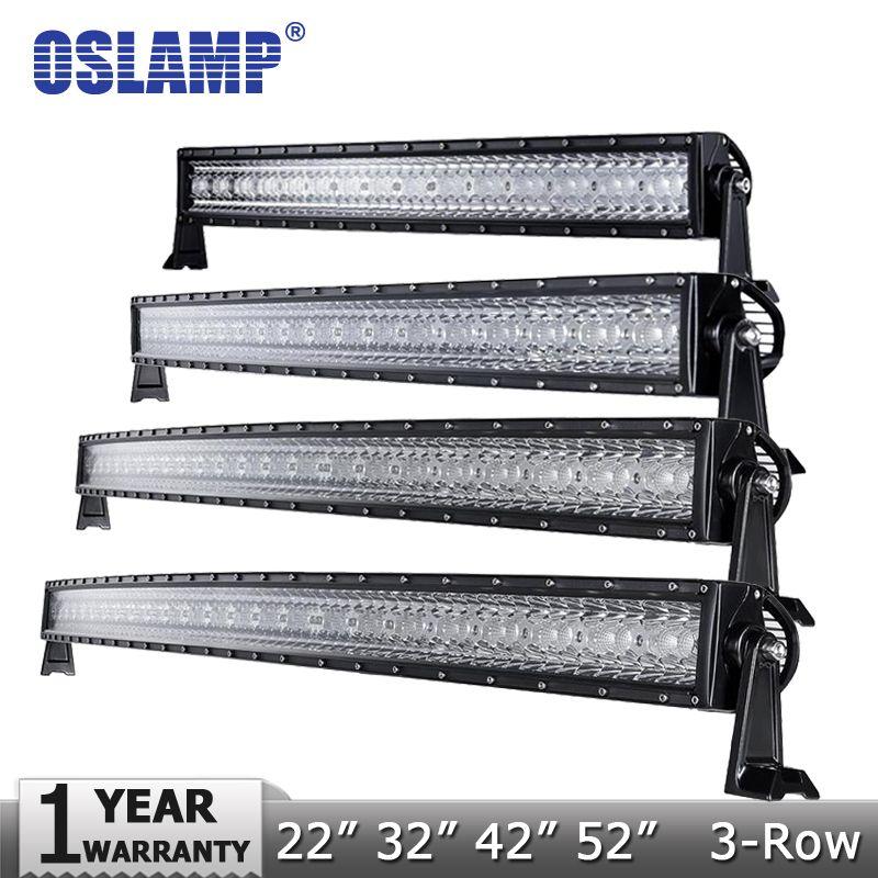 Oslamp 3-Row 14 22 32 42 50 52  Curved LED Light Bar Offroad Spot Flood Combo Beam Led Work Light  4x4  SUV Truck 12v 24v