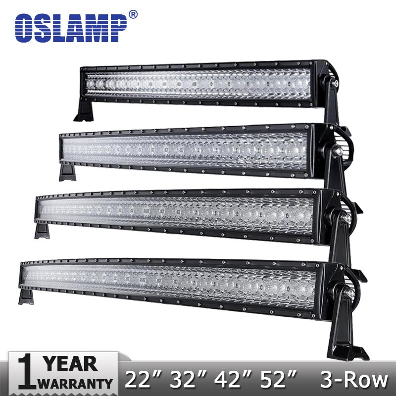 Oslamp 3-Row 14 22 32 50  Curved LED Light Bar Offroad Spot + Flood Combo Beam Led Work Light  4x4  SUV Truck 12v 24v