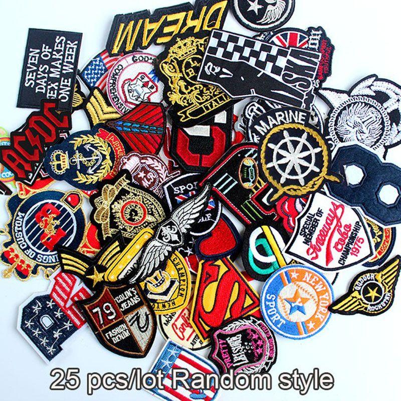 25 pièces en gros tailles mélangées aléatoires coudre sur le fer sur les vêtements patchs badge brodé pour vêtements vêtements accessoires à créer soi-même