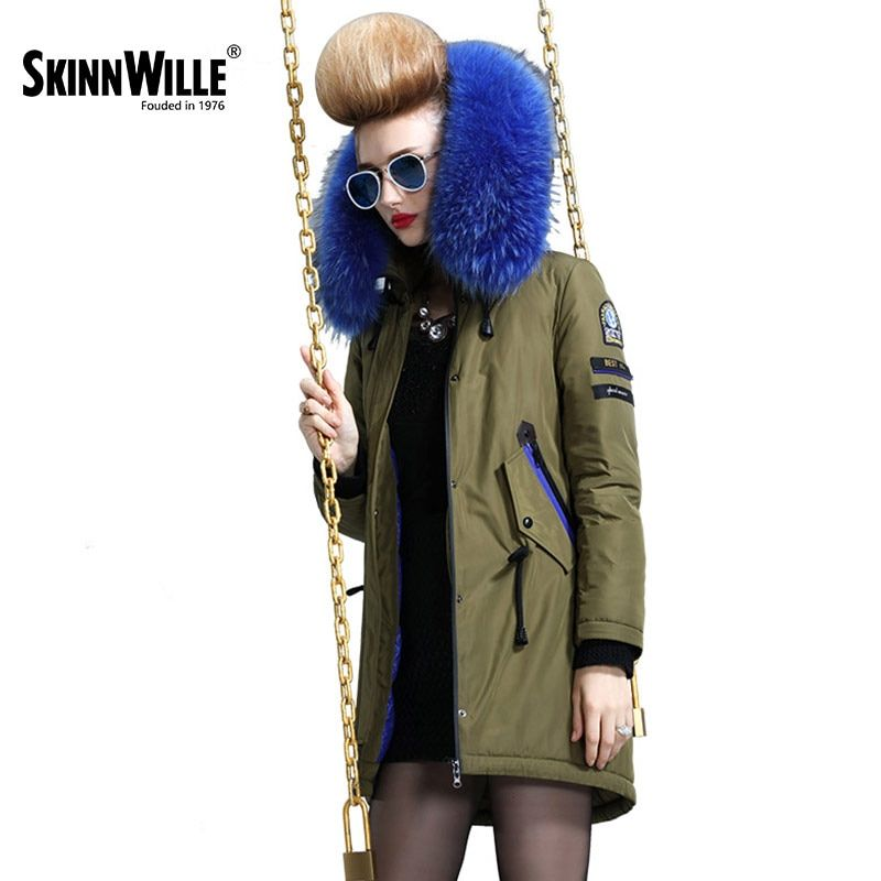 skinnwille 2017 new products down jacket in winter More female in long White duck down even the chinstrap collars winter