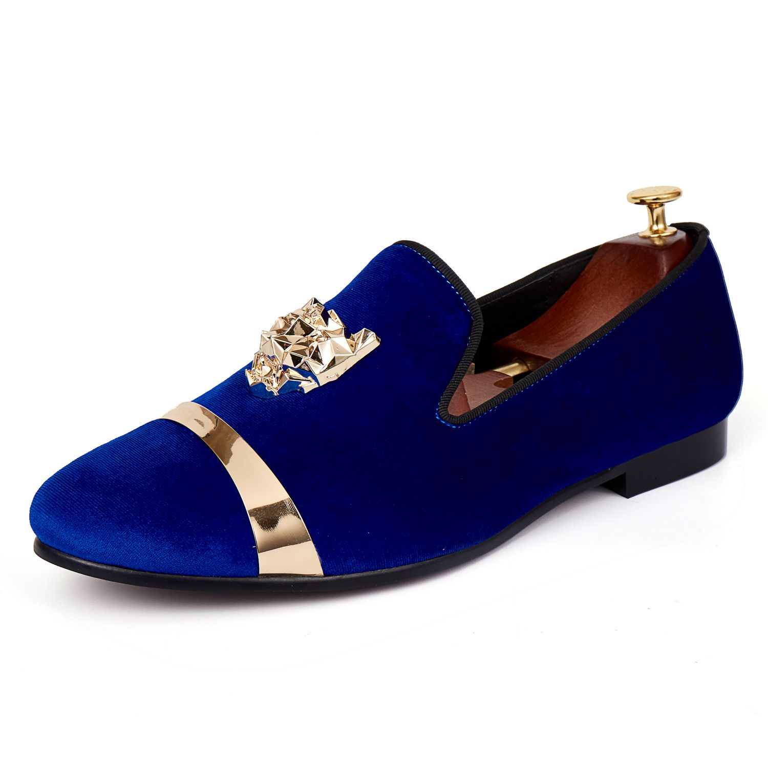 Harpelunde Men Flats New Arrival Dress Shoes Blue Velvet Loafers With Animal Buckle Size 7-14