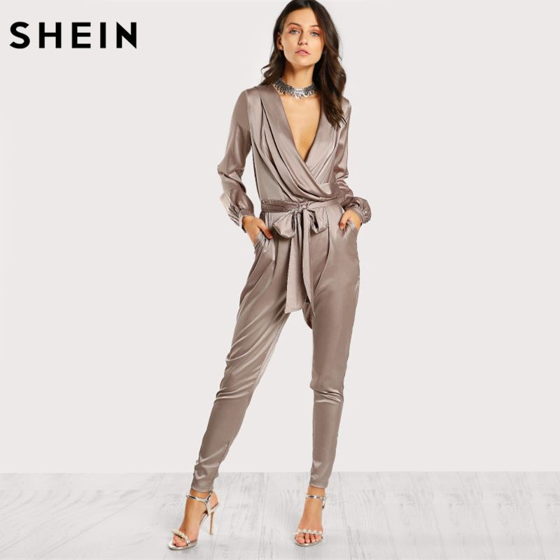 SHEIN Women Jumpsuits Shawl Collar Wrap and Tie Satin Jumpsuit Silver Deep V Neck Long Sleeve Mid Waist Elegant Jumpsuit