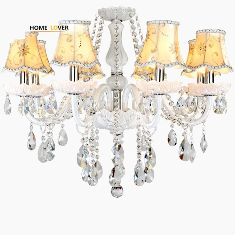 Led Chandeliers for Dining room Bedroom Kitchen White Color K9 Crystal Chandelier light For Home Decoration lustres para quarto