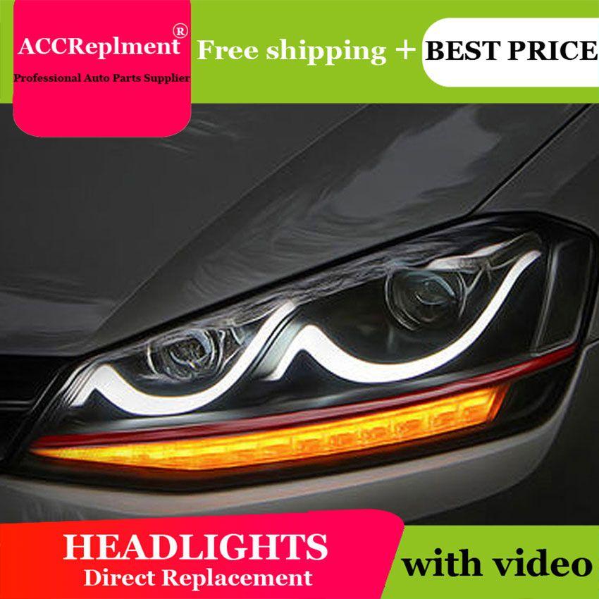 Auto styling Für VW GOLF 7 scheinwerfer U engel augen 2015 Für VW GOLF 7 LED licht bar Q5 bi xenon objektiv Led-lampe projektor lauf