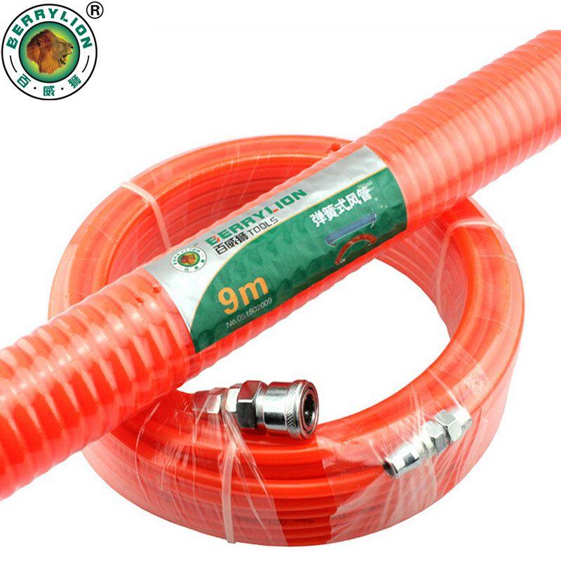 BERRYLION tuyau compresseur d'air 6/9/12/15/20/30 M polyuréthane avec composants pneumatiques Tube à ressort coupleur Portable PP20 + SP20