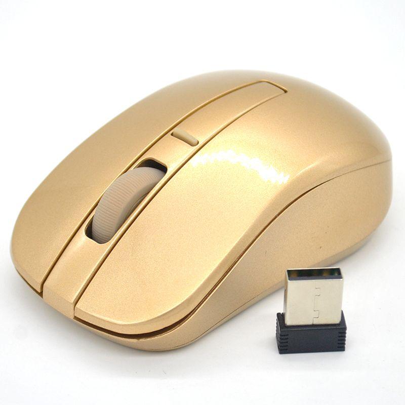 2016 heißer Verkauf Super Cool 2,4 GHZ Gold Drahtlose Maus Wifi Gaming Maus für Laptop PC Computer Gamer
