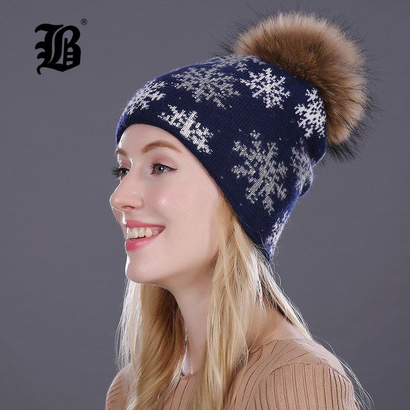 [Flb] Настоящие норки Пом Пом Зимние шапки для женщин Девушки Шляпа Шляпа Кролик Мех Вязаные Hat Черепашки Теплые Beanies Крышки для шляпы Hat