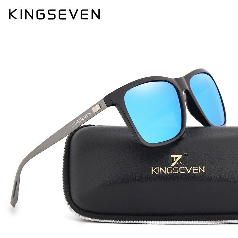 KINGSEVEN New Fashion Brand Designer <font><b>Aluminum</b></font> TR90 Sunglasses Polarized Mirror lens Male oculos Sun glasses Eyewear For Men