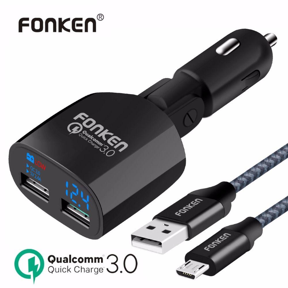 Fonken cargador dual del coche carga rápida del USB 3.0 cargador de teléfono portátil cargador rápido QC3.0 Pantalla de voltaje con carga cable
