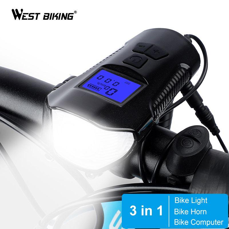WEST RADFAHREN 3 in 1 Bike Licht USB Aufladbare 1500 mah + Fahrrad Glocke Horn Lampe Kilometerzähler Scheinwerfer Fahrrad Computer radfahren Licht