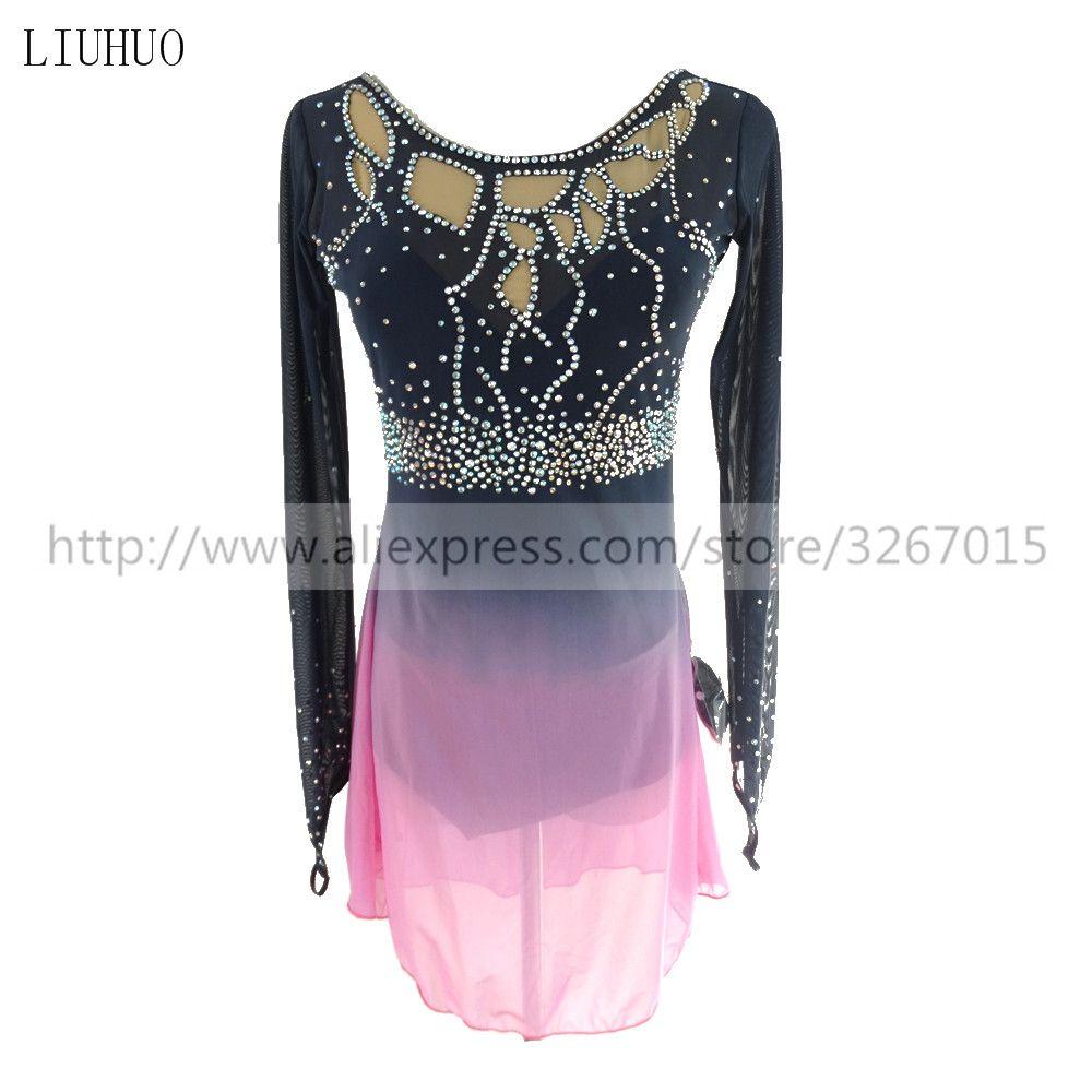 Eiskunstlauf Kleid frauen Mädchen Eislaufen Kleid Roller skating Wettbewerb rundhals langarm dunkelgrau licht rosa