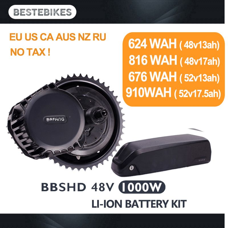 Bafang BBSHD 48V1000w electric motor kit bbs03 battery velo electrique bicicleta electrica 48v13/17ah 52v13/17.5ah EU/US NO Tax