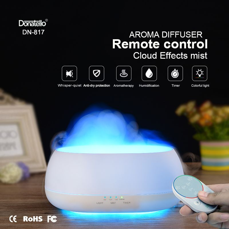 Fimei 500ml Air Humidifier Remote Control Ocean Mist Wood Grain Aroma Diffuser Night Light Oil Diffuser Aromatherapy Diffuser