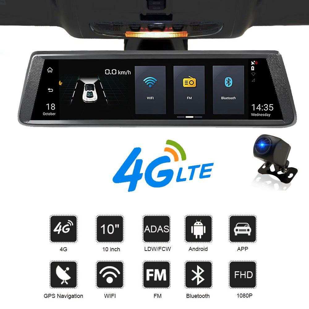 HGDO 10 IPS 4g auto dvrs Android spiegel mit rückansicht kamera ADAS Bluetooth WIFI 1080 p camara automovil spiegel navigator