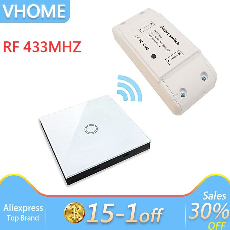 VHome Smart remote control Touch switch wireless RF 433MHz relay receiver DC power supply 170v-250v 5A transmitter controller