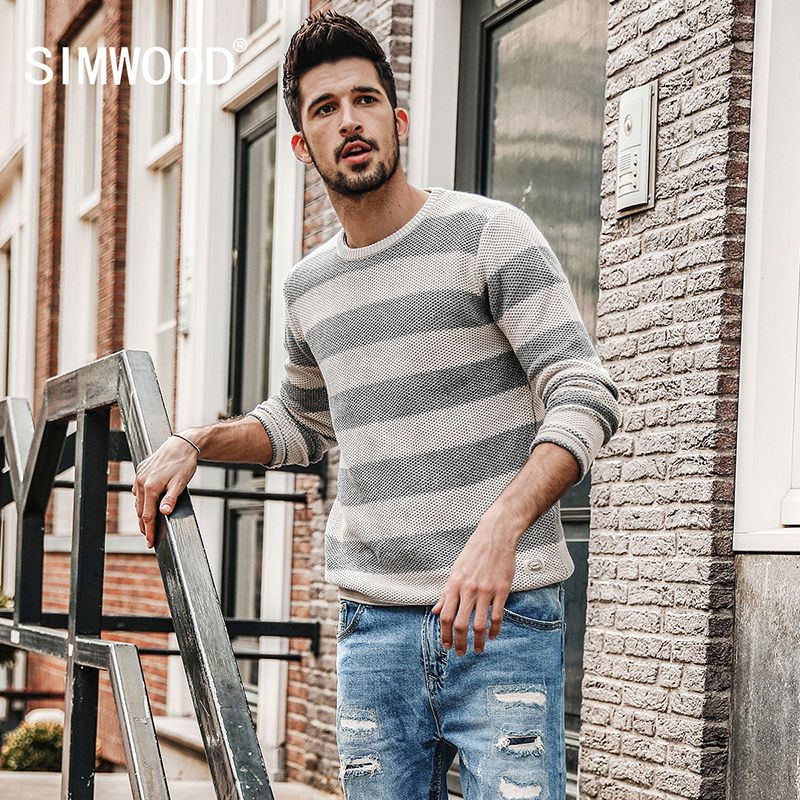 SIMWOOD 2018 autumn New Striped  Sweater Men Contrast Color Slim Fit 100% Cotton O-neck  Plus Size Knitted Pullovers  MT017015