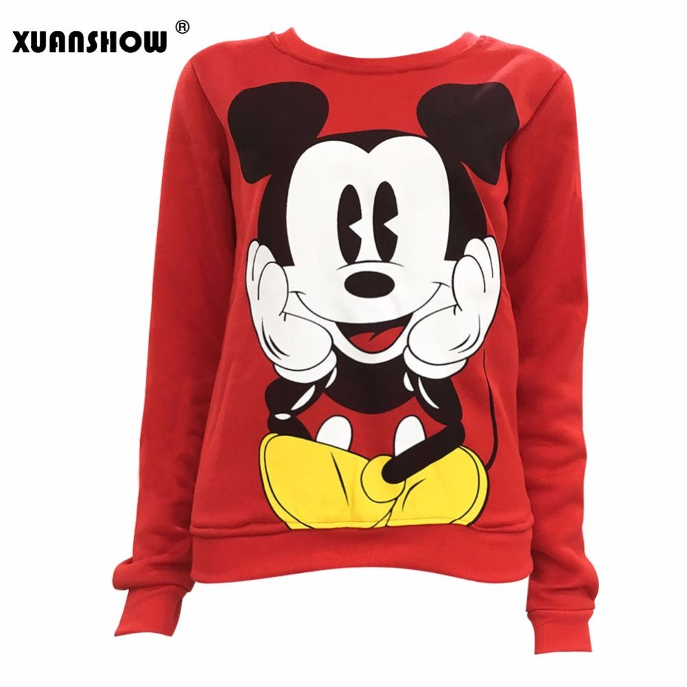 XUANSHOW 2018 Women Sweatshirts Hoodies Character Printed Casual Pullover Cute Jumpers Top Long Sleeve O-Neck Fleece Tops S-XXL
