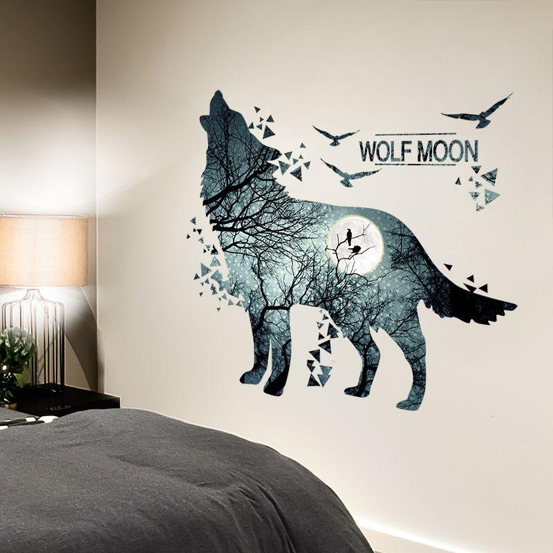 [SHIJUEHEZI] autocollants muraux créatifs Cool Wolf autocollants muraux bricolage Animal Mural pour la maison des chambres d'enfants décoration de salon chambre bébé