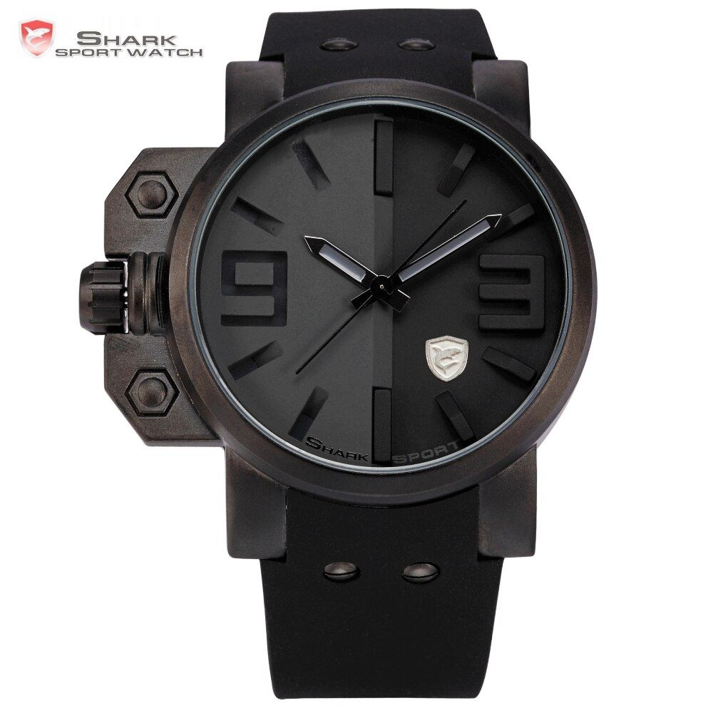 Salmon Shark Sport Watch Men Stainless Steel Case Full <font><b>Black</b></font> Big Face Cool Silicone Strap Men Outdoor Military Wristwatch /SH171