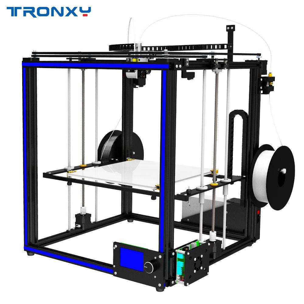 NEUESTE Tronxy 3D Drucker X5S-2E Doppel Fütterung Port Eine Extrusion Kopf Voller Aluminium Rahmen Kit Große Druck Größe 330 * 330*400mm