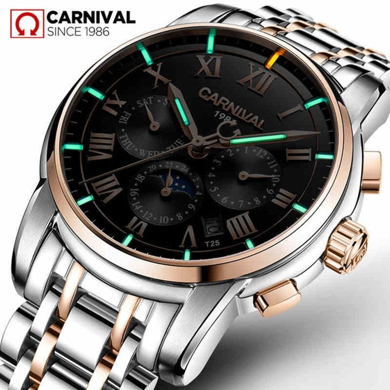 T25 Tritium Gas Luminous Mechanical Watches Men Carnival Full Steel Multi-function Automatic Wrist Watch Male Clock reloj hombre