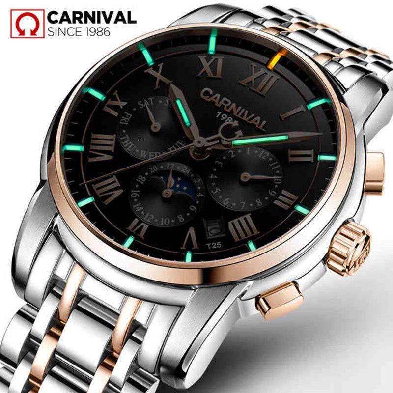 T25 Tritiumgas Leucht Mechanische Uhren Männer Karneval Voller Stahl multifunktions Automatische Armbanduhr Männliche Uhr reloj hombre